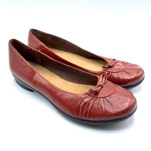 Clarks Ballerina Red Leather Flat
